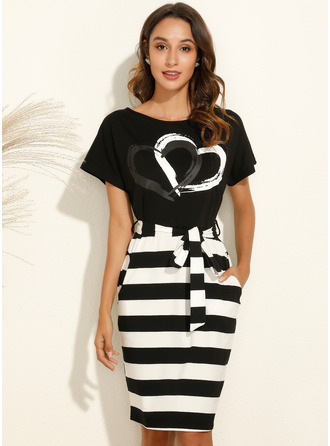 Print Striped Round Neck Short Sleeves Midi Dresses