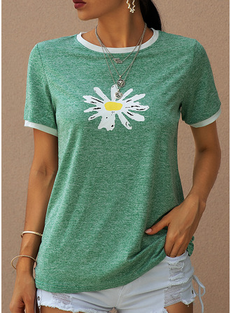 Floral Print Round Neck Short Sleeves Casual T-shirt