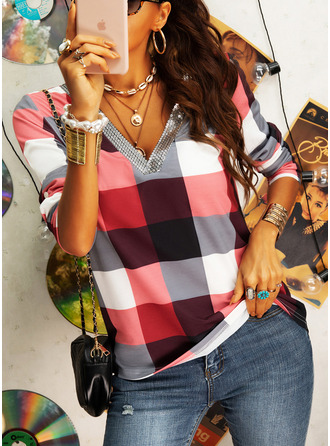 Color Block Sequins V-Neck Long Sleeves Casual Blouses