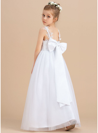 Ball-Gown/Princess V-neck Floor-length Tulle Sleeveless Flower Girl Dress