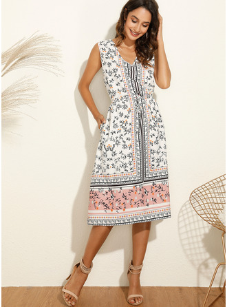 Midi V neck Cotton Blends Print Sleeveless Fashion Dresses