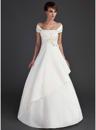 Ball-Gown Off-the-Shoulder Floor-Length Stretch Crepe Wedding Dress With Ruffle Beading Flower(s) Sequins