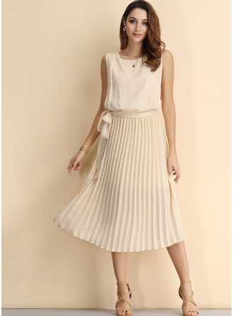 Solid A-line Sleeveless Midi Casual Skater Dresses