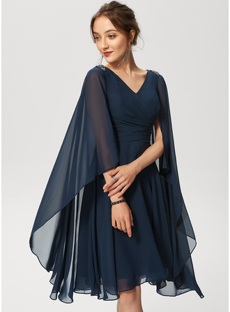 V-Neck Dark Navy Chiffon Chiffon Dresses