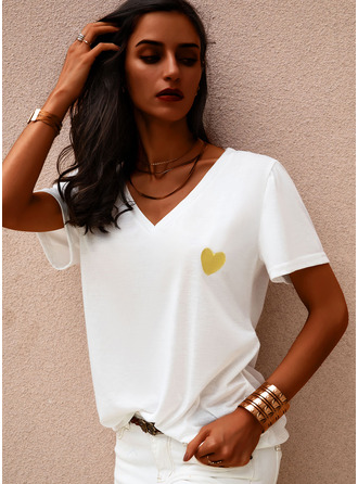 Print Heart Short Sleeves Casual T-shirt Dresses