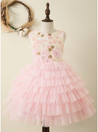 A-Line Knee-length Flower Girl Dress - Satin Sleeveless Scoop Neck With Ruffles/Appliques/V Back