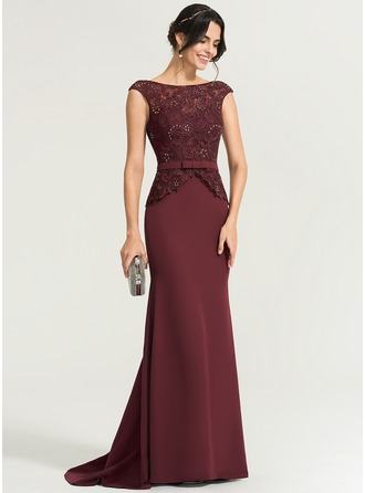 Trumpet/Mermaid Scoop Neck Sweep Train Stretch Crepe Evening Dress With Beading Bow(s)