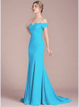 Trumpet/Mermaid Off-the-Shoulder Court Train Chiffon Lace Prom Dresses With Beading Sequins