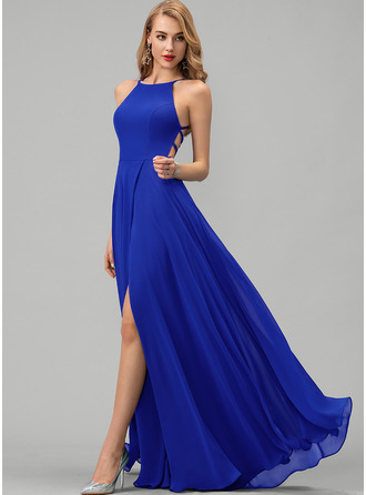 Round Neck Royal Blue Chiffon Dresses