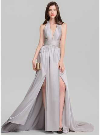 A-Line/Princess Halter Court Train Prom Dress With Ruffle