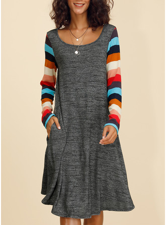 Striped Shift Long Sleeves Midi Casual Tunic Dresses