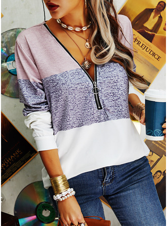 Color Block V-Neck Long Sleeves Casual Blouses (1003254992)