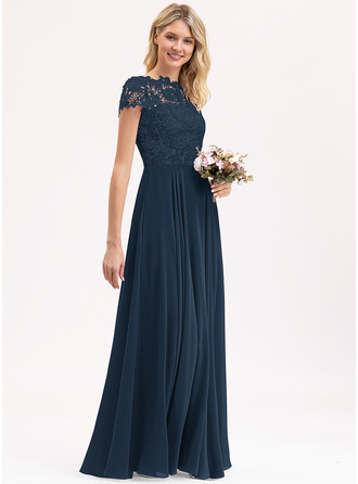 A-Line Scoop Neck Floor-Length Chiffon Lace Prom Dresses With Pockets
