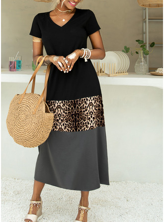 Leopard Color Block Shift Short Sleeves Maxi Casual Vacation Dresses