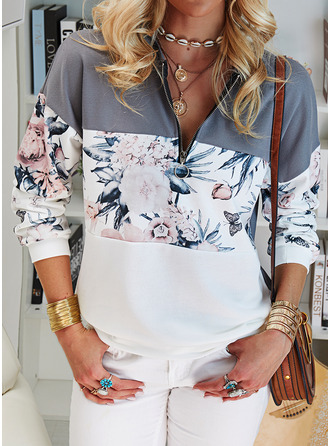 Color Block Floral Print V-Neck Long Sleeves Sweatshirt