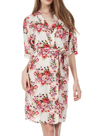Bride Bridesmaid Polyester With Knee-Length Floral Robes