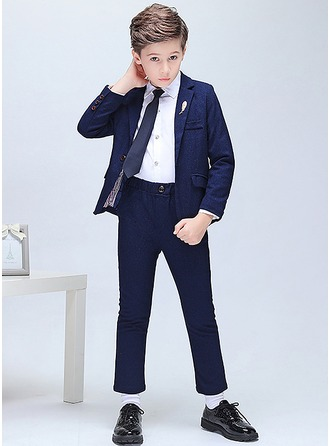 Boys 5 Pieces Elegant Ring Bearer Suits /Page Boy Suits With Jacket Shirt Pants Tie Boutonniere