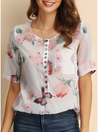 Animal Print Floral V-Neck Short Sleeves Button Up Casual