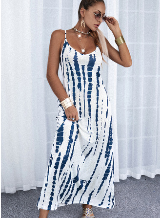 Print A-line Sleeveless Maxi Casual Vacation Skater Type Dresses
