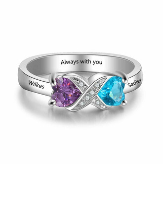 Sterling Silver Cubic Zirconia Brithstone Exquisite Twist Heart Cut Promise Rings Custom Rings -