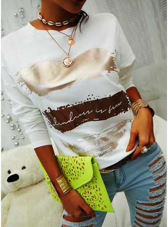 Print Round Neck 3/4 Sleeves Casual T-shirt