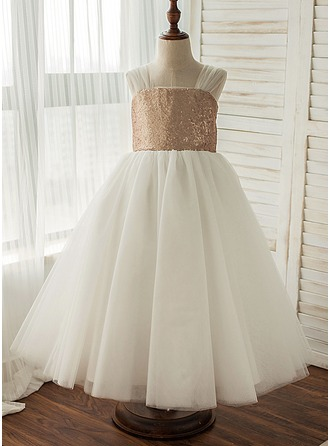 A-Line/Princess Tea-length Flower Girl Dress - Tulle/Sequined Sleeveless Straps With Sequins