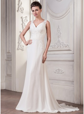 A-Line/Princess V-neck Sweep Train Chiffon Wedding Dress With Ruffle Appliques Lace