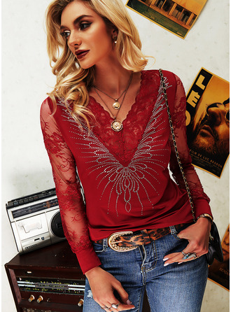 Lace Sequins Solid V-Neck Long Sleeves Elegant Blouses