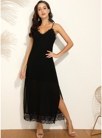 Maxi Spaghetti Straps Polyester/Spandex Lace/Solid Sleeveless Fashion Dresses