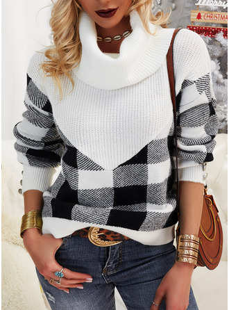 Turtleneck Casual Color Block Grid Sweaters
