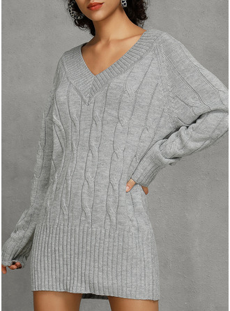 V-Neck Sexy Solid Sweaters