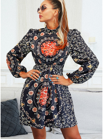 Print A-line Long Sleeves Mini Elegant Skater Dresses