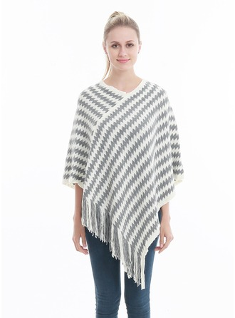Couture Énorme/simple Laine artificielle Poncho