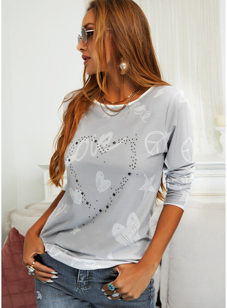 Figure Print Heart Round Neck Long Sleeves Casual T-shirt