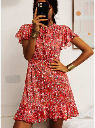 Above Knee Stand collar Polyester Print Short Sleeves Fashion Dresses