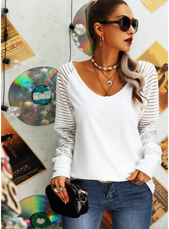 Solid V-Neck Long Sleeves Casual Blouses (1003254983)