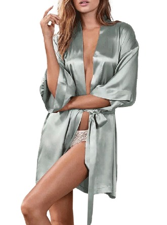 Bride Bridesmaid Silk With Tea-Length Satin Robes