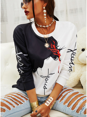 Figure Color Block Round Neck Long Sleeves Casual Blouses