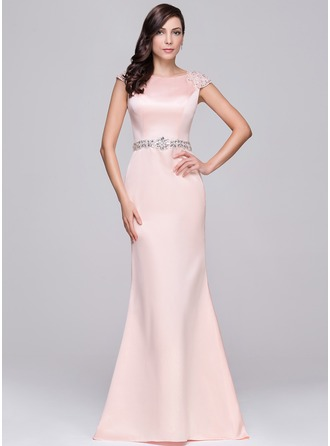 Trumpet/Mermaid Scoop Neck Sweep Train Satin Evening Dress With Lace Beading Sequins