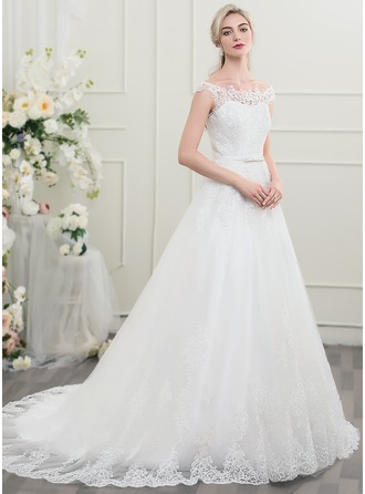 Ball-Gown Off-the-Shoulder Court Train Tulle Lace Wedding Dress With Bow(s)