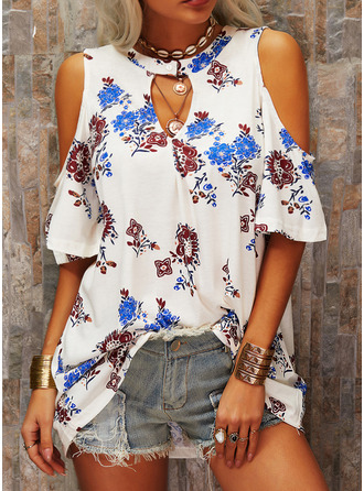 Floral Print Cold Shoulder 1/2 Sleeves Casual