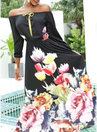 Floral Print A-line 1/2 Sleeves Maxi Party Elegant Skater Dresses