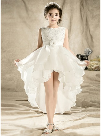 A-Line/Princess Short/Mini Flower Girl Dress - Tulle Sleeveless Scoop Neck