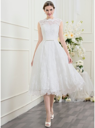 A-Line/Princess Scoop Neck Tea-Length Lace Wedding Dress With Bow(s)