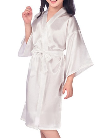 Flower Girl Satin With Knee-Length Satin Robes