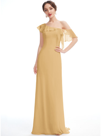 A-Line One-Shoulder Floor-Length Bridesmaid Dress With Ruffle