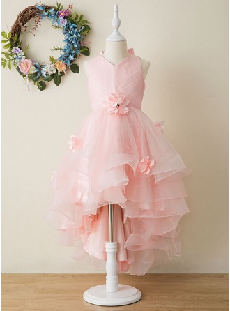 Ball-Gown/Princess Asymmetrical Flower Girl Dress - Tulle Sleeveless V-neck With Flower(s)/Bow(s)/Pleated