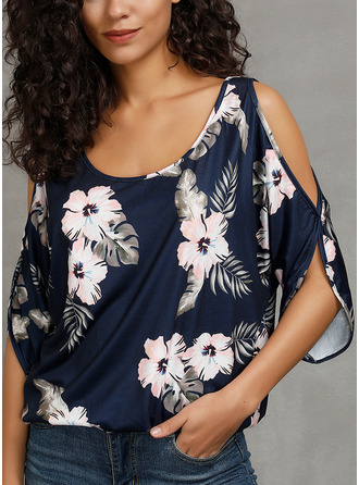 Floral Print Cold Shoulder Round Neck 1/2 Sleeves Casual