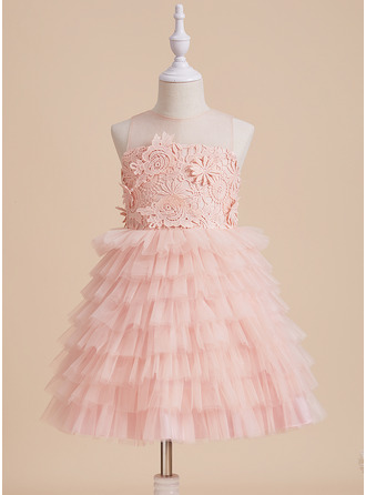 Ball-Gown/Princess Scoop Neck Knee-length Tulle/Lace Sleeveless Flower Girl Dress