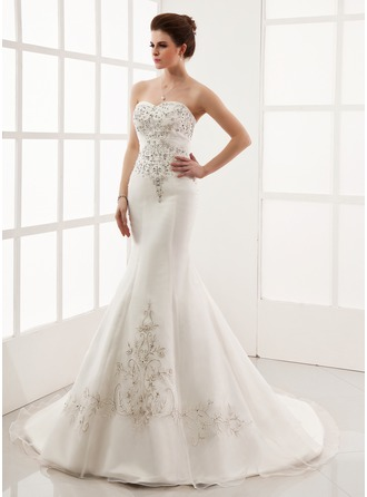 Trumpet/Mermaid Sweetheart Chapel Train Satin Organza Wedding Dress With Embroidered Beading